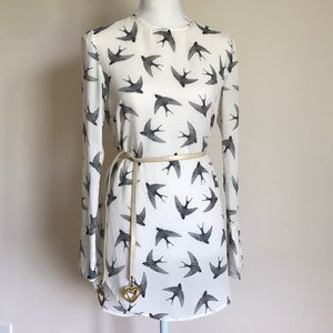 H&M Long sleeve white Bird shirt size 6